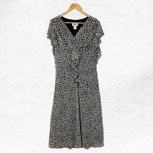 Vintage Size 18 J.B.S. LTD Black White Midi Dress